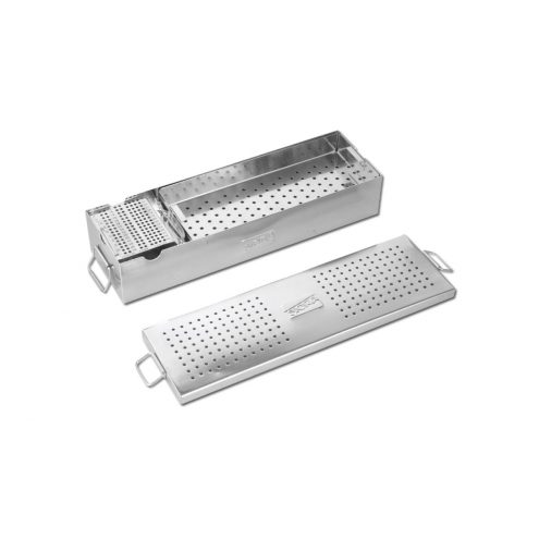 Small Fragment Implant Box with Two Trays for Instruments and One Try for Screw with Screw Holding Forceps